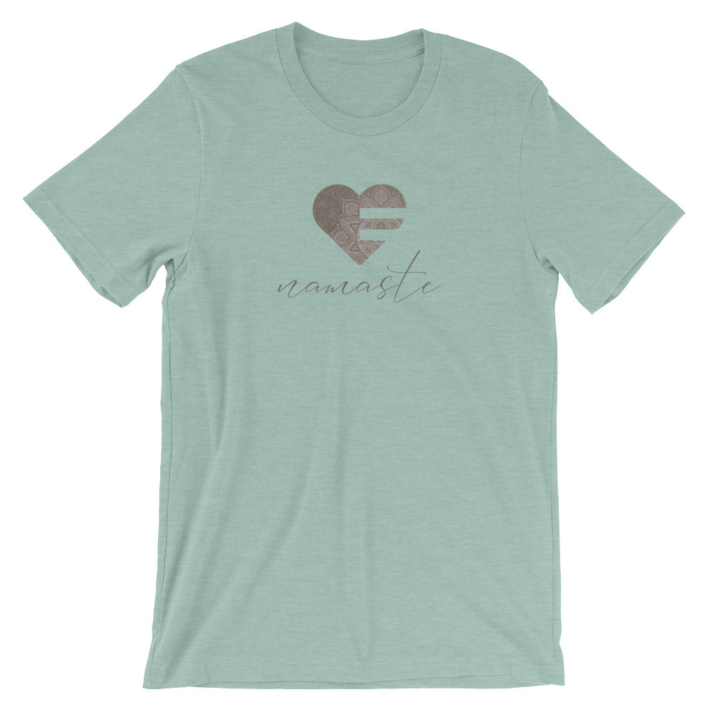 Heather Prism Dusty Blue Heart Namaste Unisex Tee