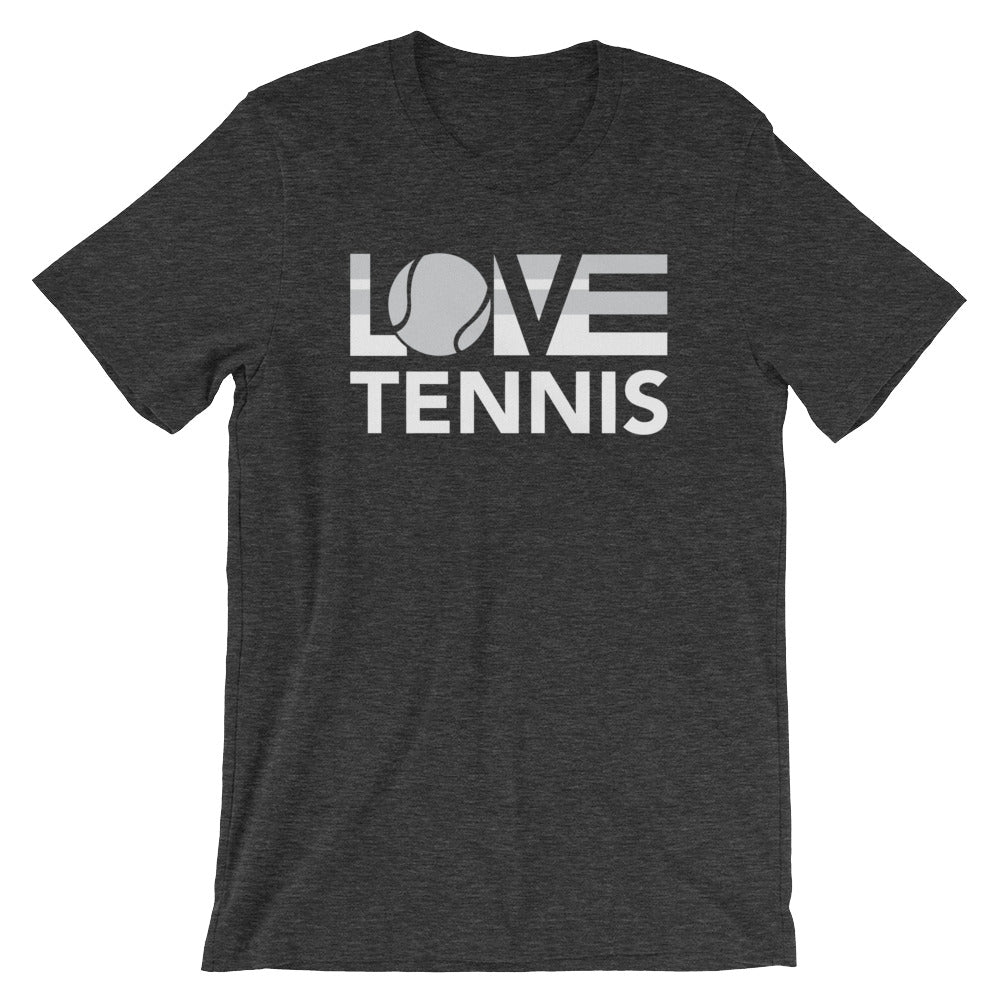 Dark grey heather LOV=Tennis Unisex Tee