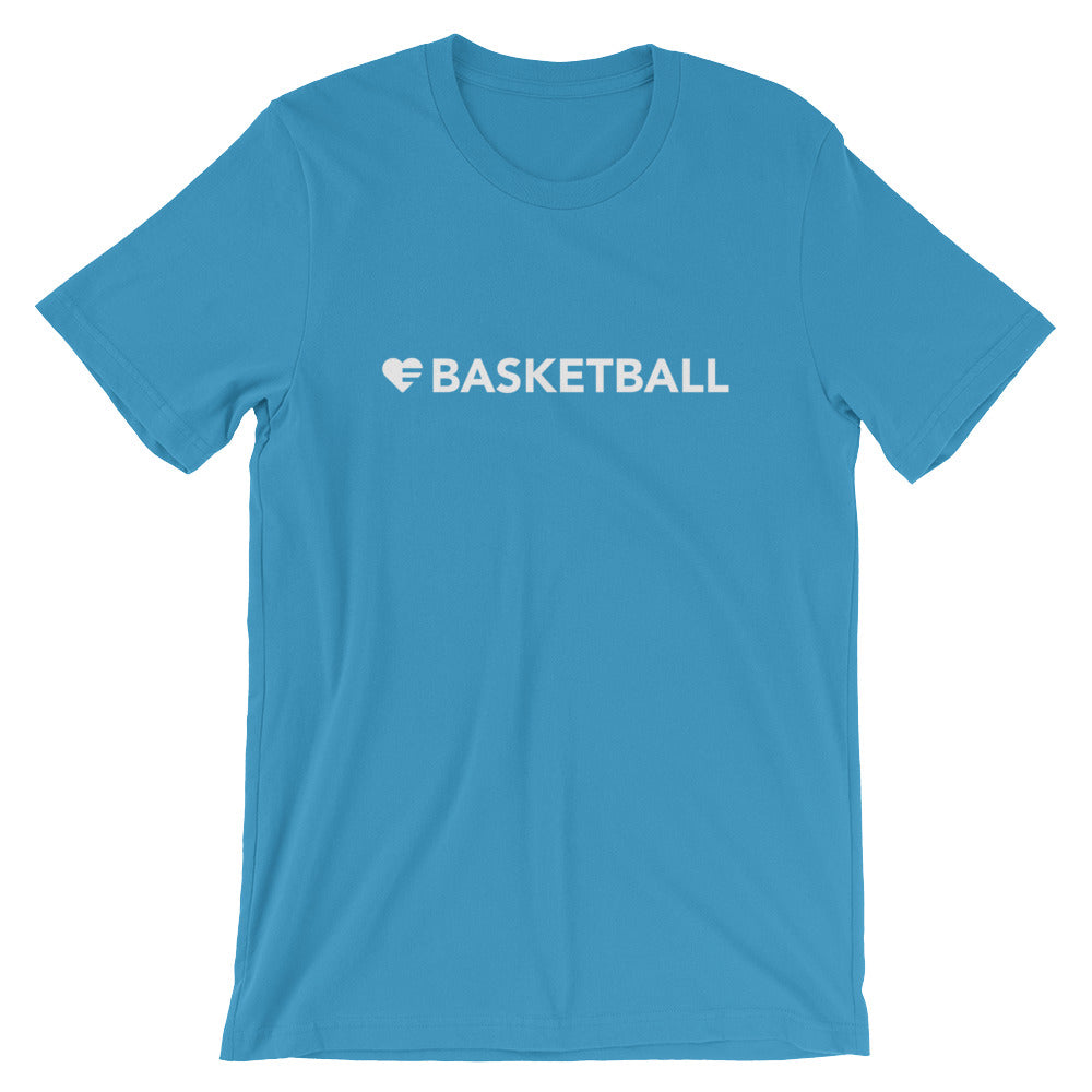 Ocean Blue Heart=Basketball Unisex Tee
