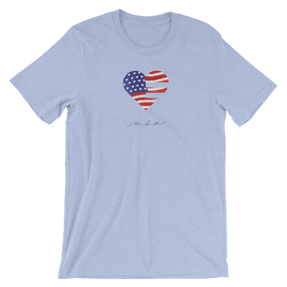 Heather Blue USA Heart Unisex Tee