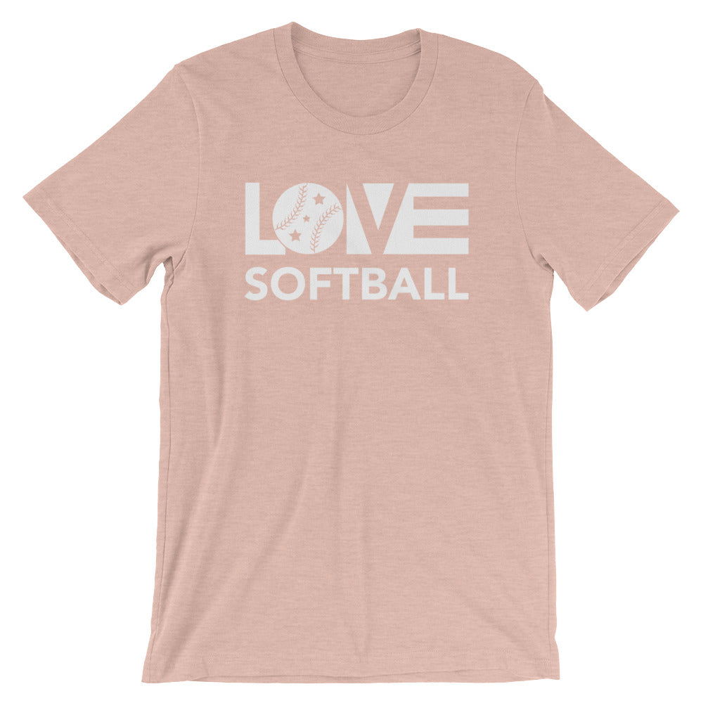 Peach  LOV=Softball Unisex Tee