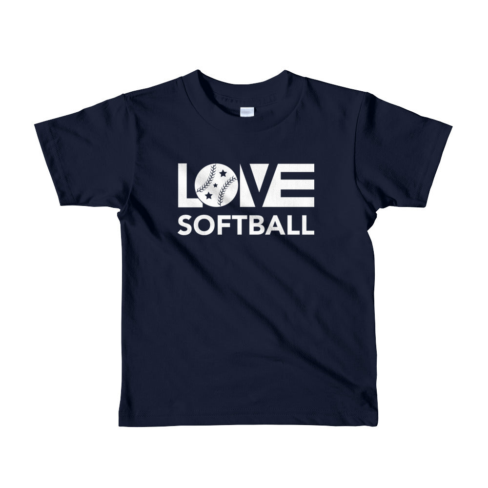 Navy LOV=Softball Kid Tee