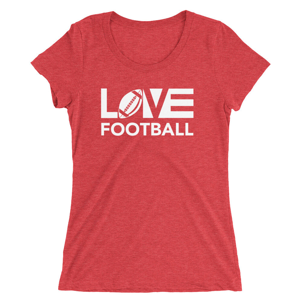 Red LOV=Football Ultra Slim Fit Triblend Tee