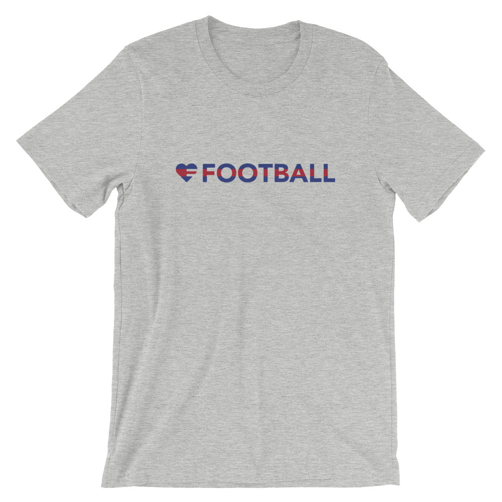 Athletic Heather Heart=Football Unisex Tee