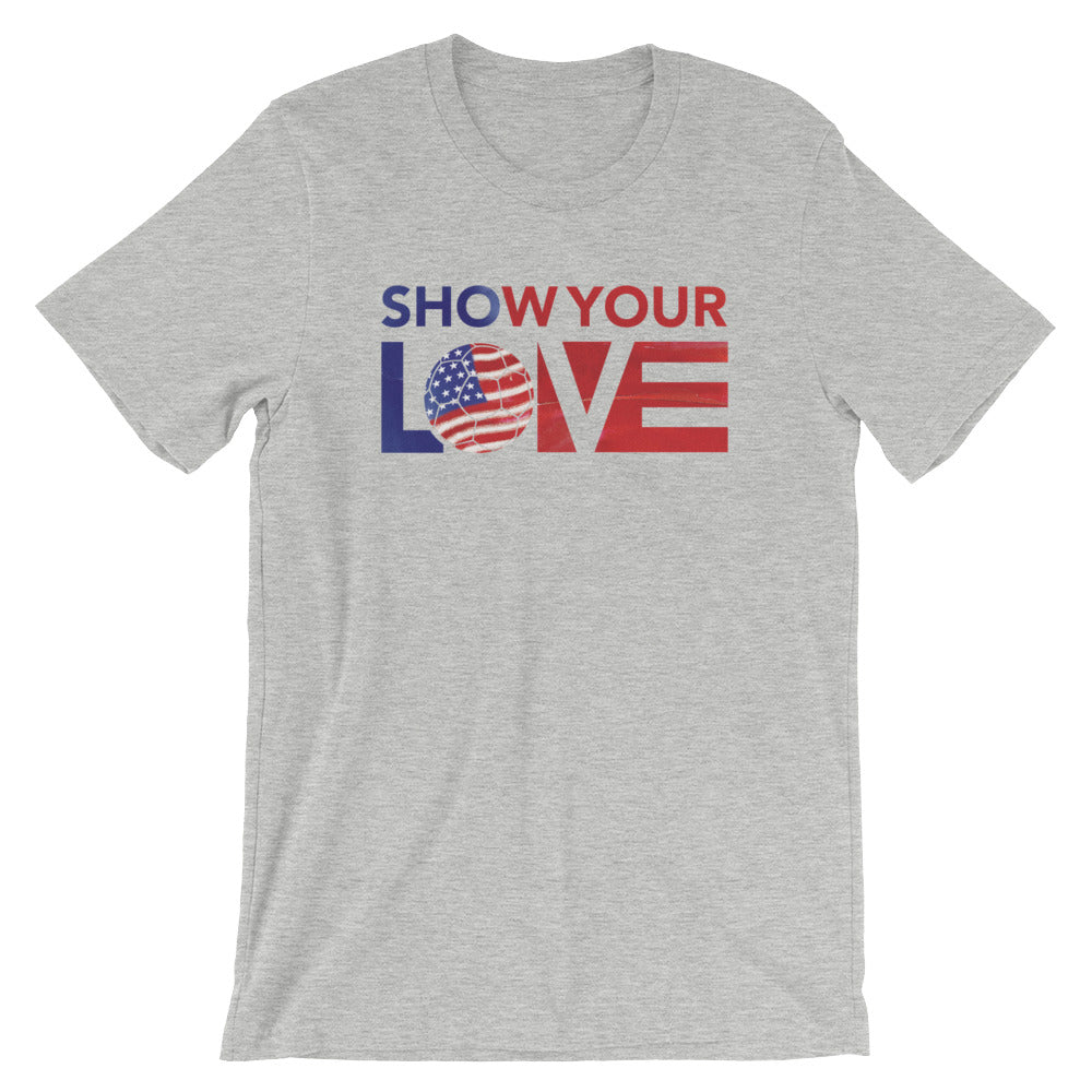 Athletic Heather Show Your Love USA Soccer Unisex Tee
