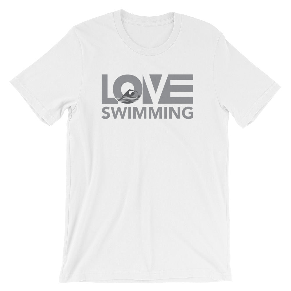 White LOV=Swimming Unisex Tee