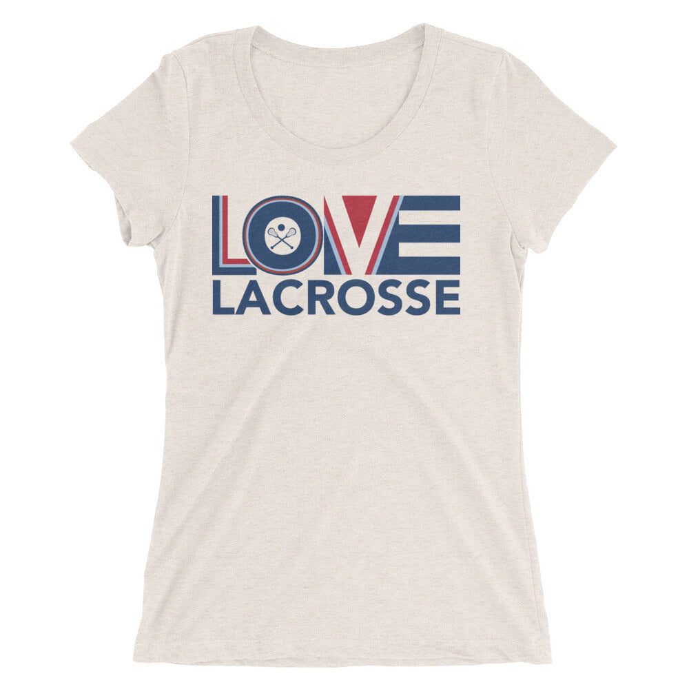 Oatmeal LOV=Lacrosse Ultra Slim Fit Triblend Tee