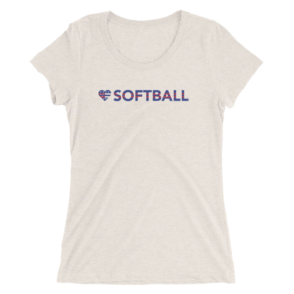 Oatmeal Heart=Softball Ultra Slim Fit Triblend Tee