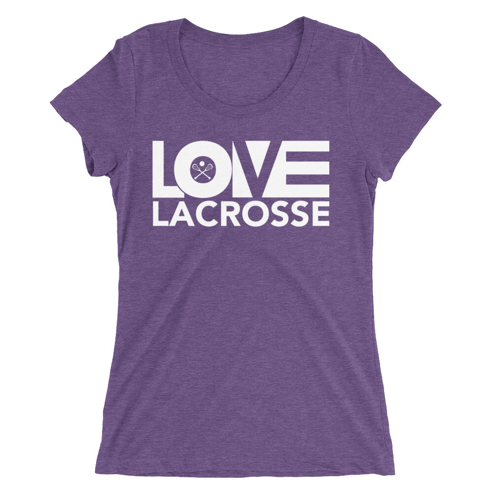 Purple LOV=Lacrosse Ultra Slim Fit Triblend Tee