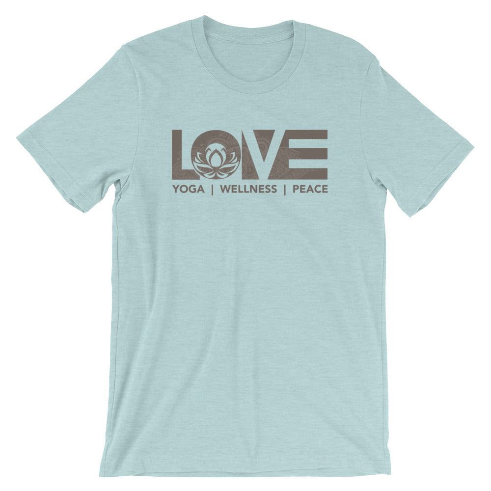 Heather Prism Ice Blue LOV=Yoga Unisex Tee