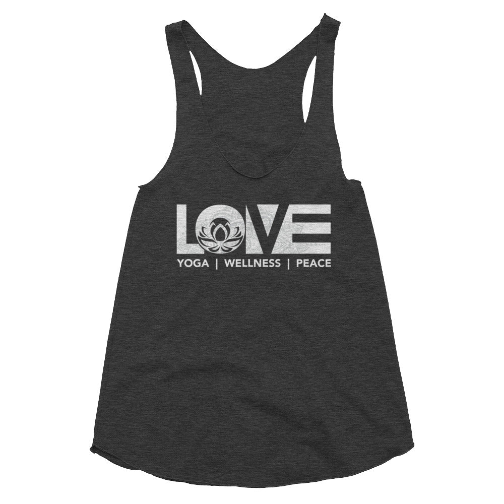 Tri-Black LOV=Yoga Womens Triblend Tank