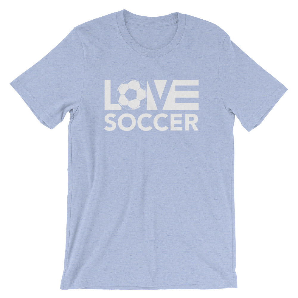 Heather blue LOV=Soccer Unisex Tee