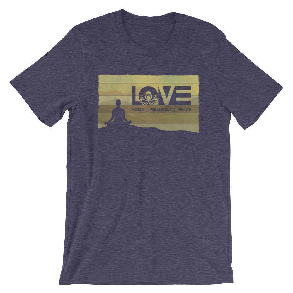 Heather Midnight Navy LOV=Yoga Vintage Unisex Tee