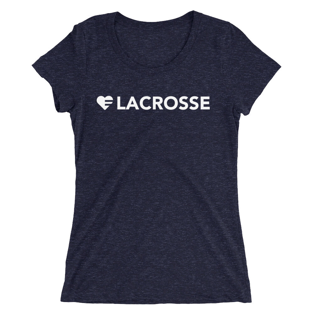 Navy Heart=Lacrosse Ultra Slim Fit Triblend Tee