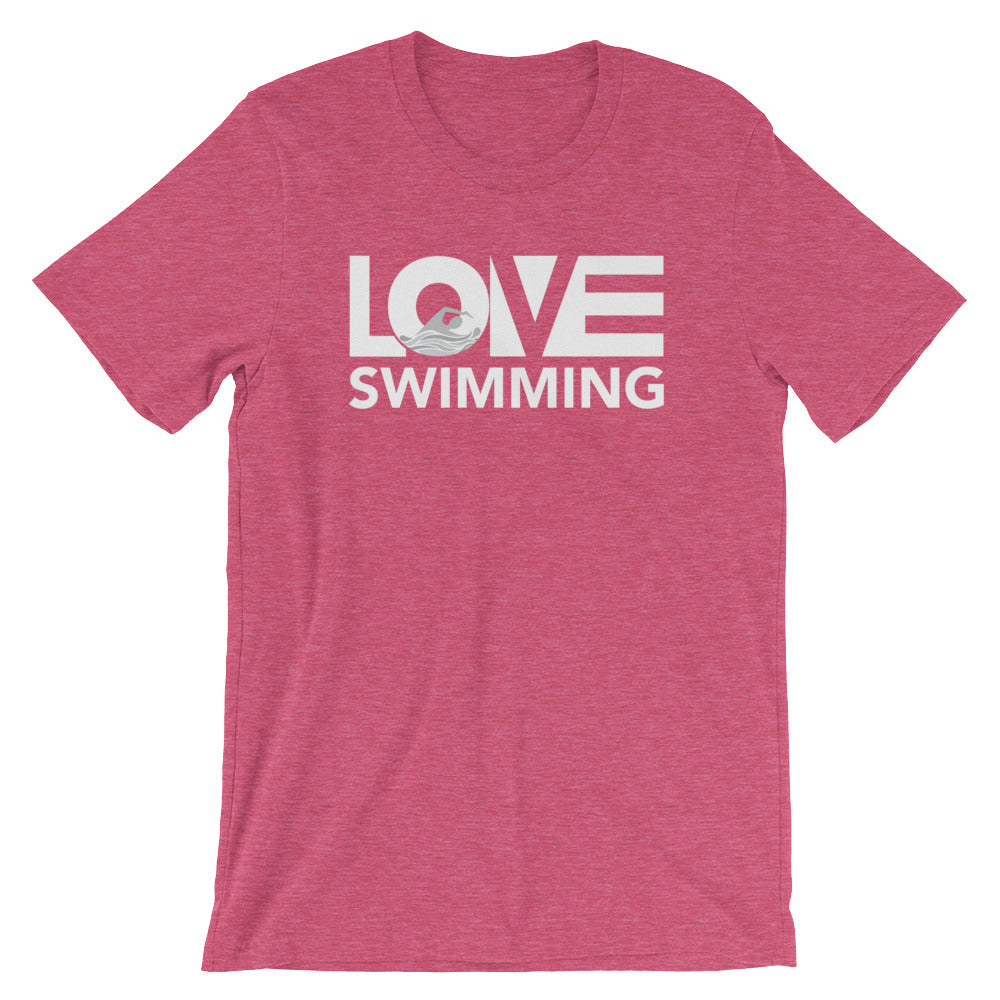 Raspberry LOV=Swimming Unisex Tee