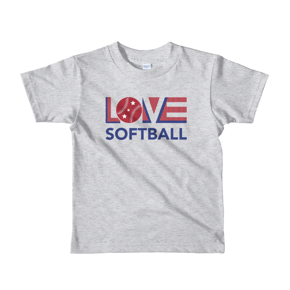 Heather grey LOV=Softball Kid Tee