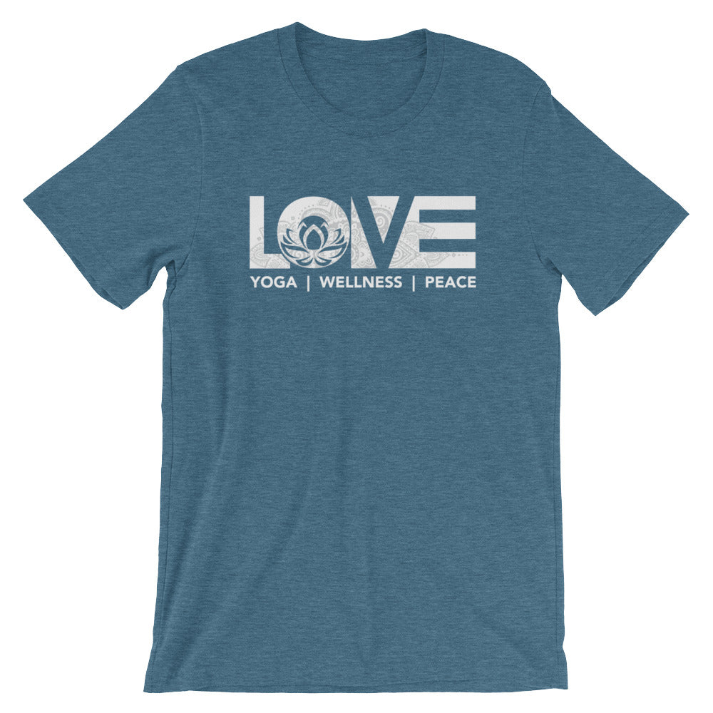 Heather Deep Teal LOV=Yoga Unisex Tee