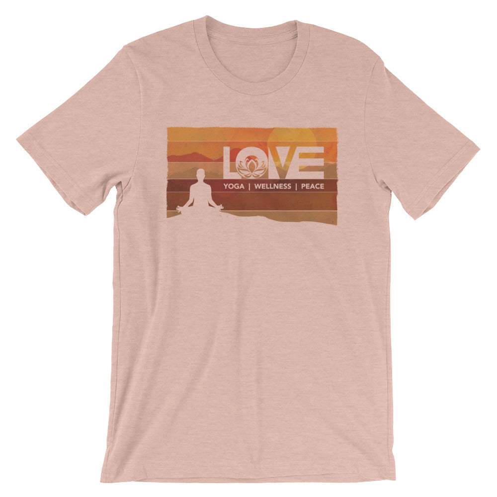 Heather Prism Peach LOV=Yoga Vintage Unisex Tee