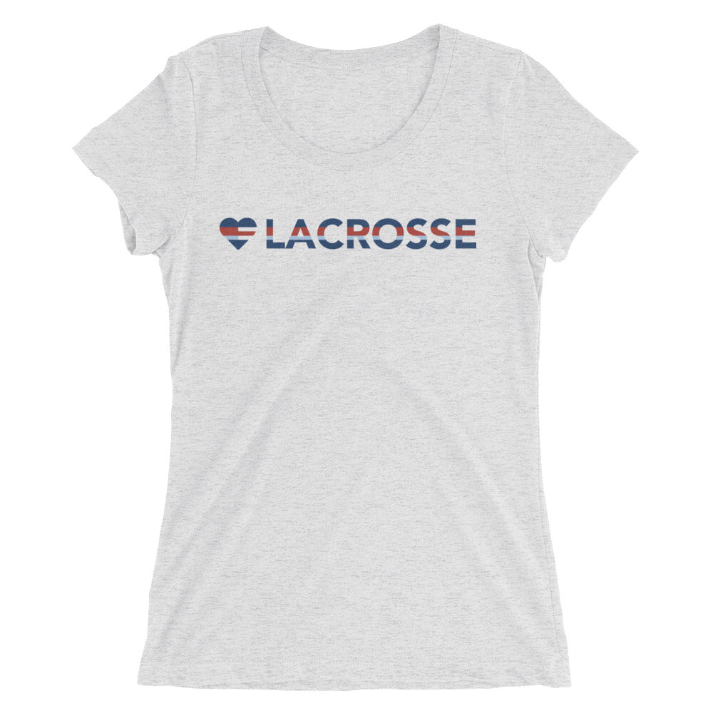 White Fleck Heart=Lacrosse Ultra Slim Fit Triblend Tee