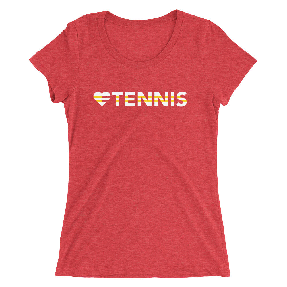 Red Heart=Tennis Ultra Slim Fit Triblend Tee