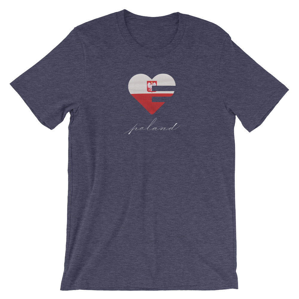 Heather Midnight Navy Poland Heart Unisex Tee
