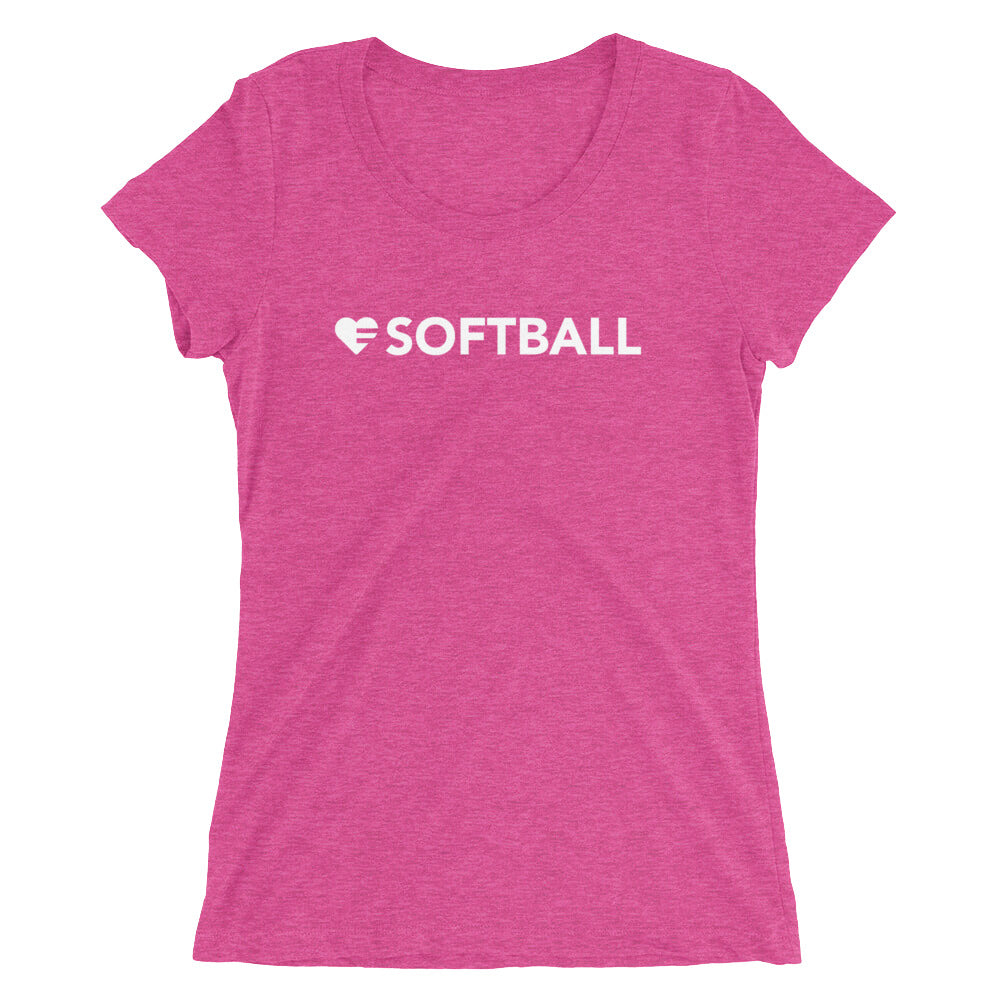Fuchsia Heart=Softball Ultra Slim Fit Triblend Tee