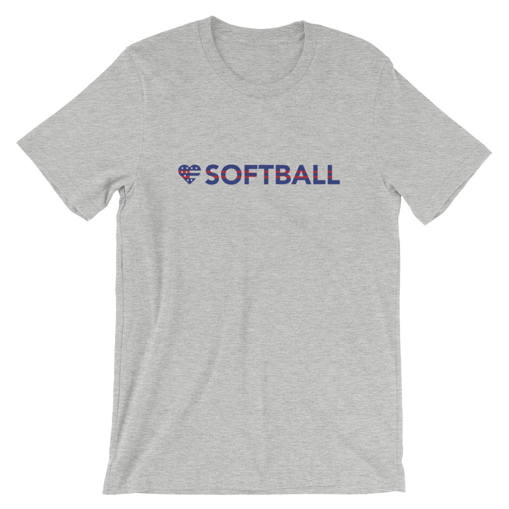 Athletic heather Heart=Softball Unisex Tee