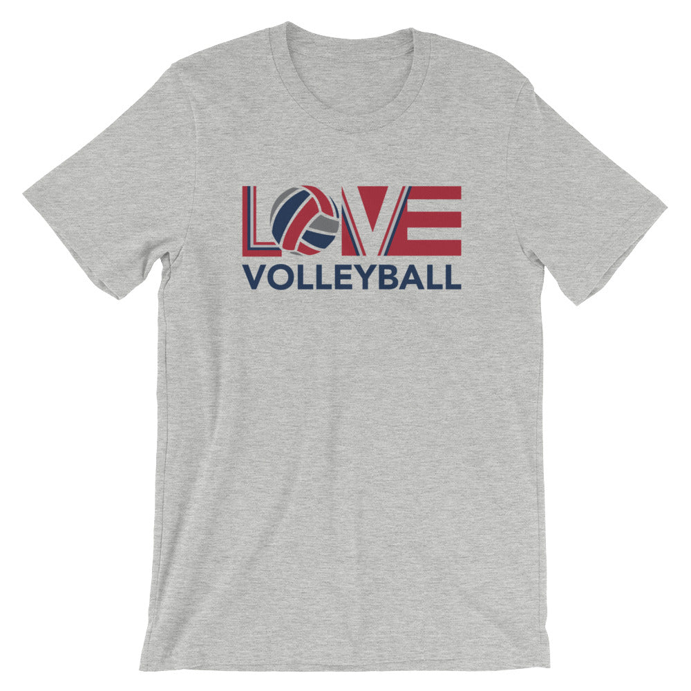 Athletic Heather LOV=Volleyball Unisex Tee