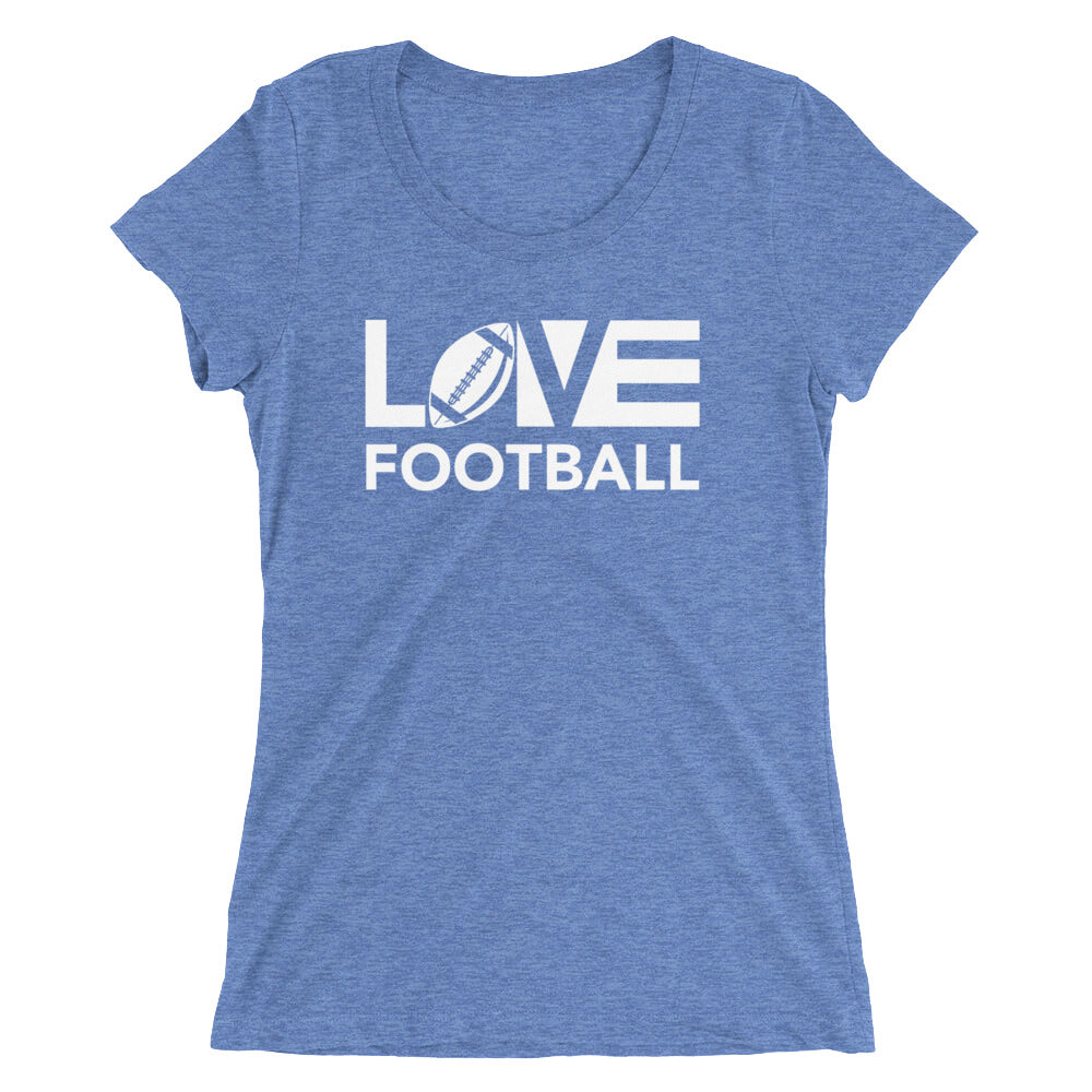 Blue LOV=Football Ultra Slim Fit Triblend Tee