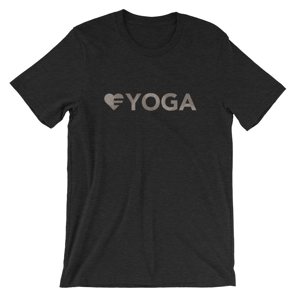 Black heather Heart=Yoga Unisex Tee