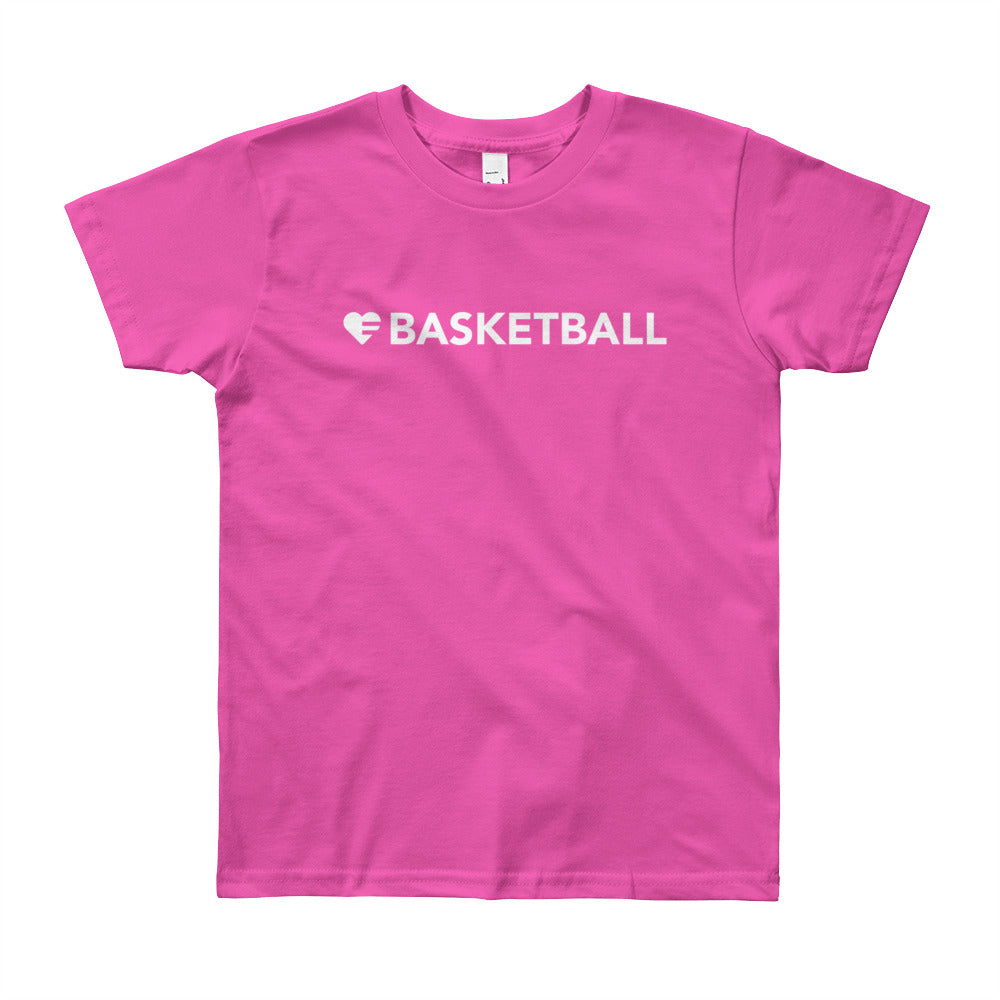 Fuchsia Heart=Basketball Youth Tee
