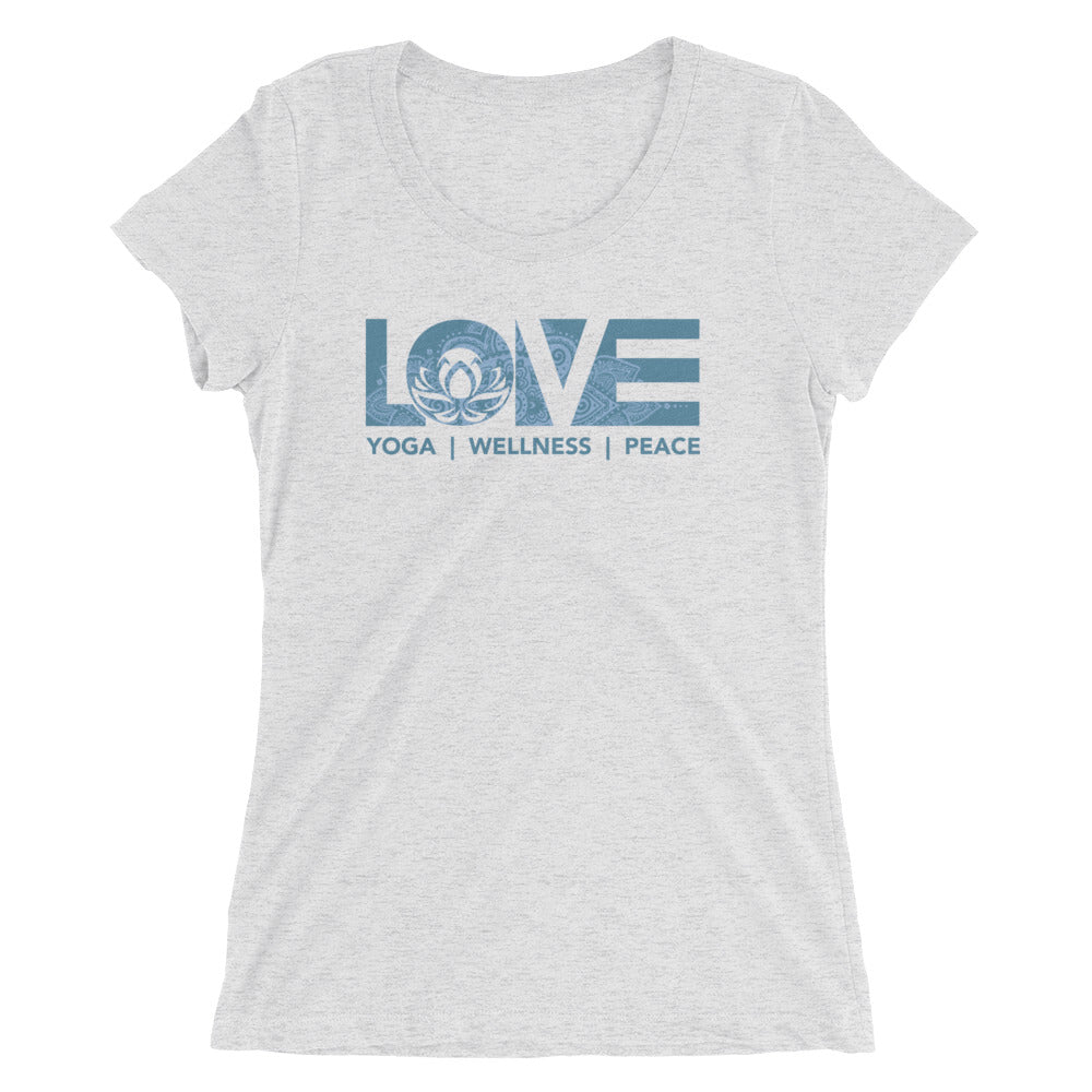 White Fleck LOV=Yoga Ultra Slim Fit Triblend Tee