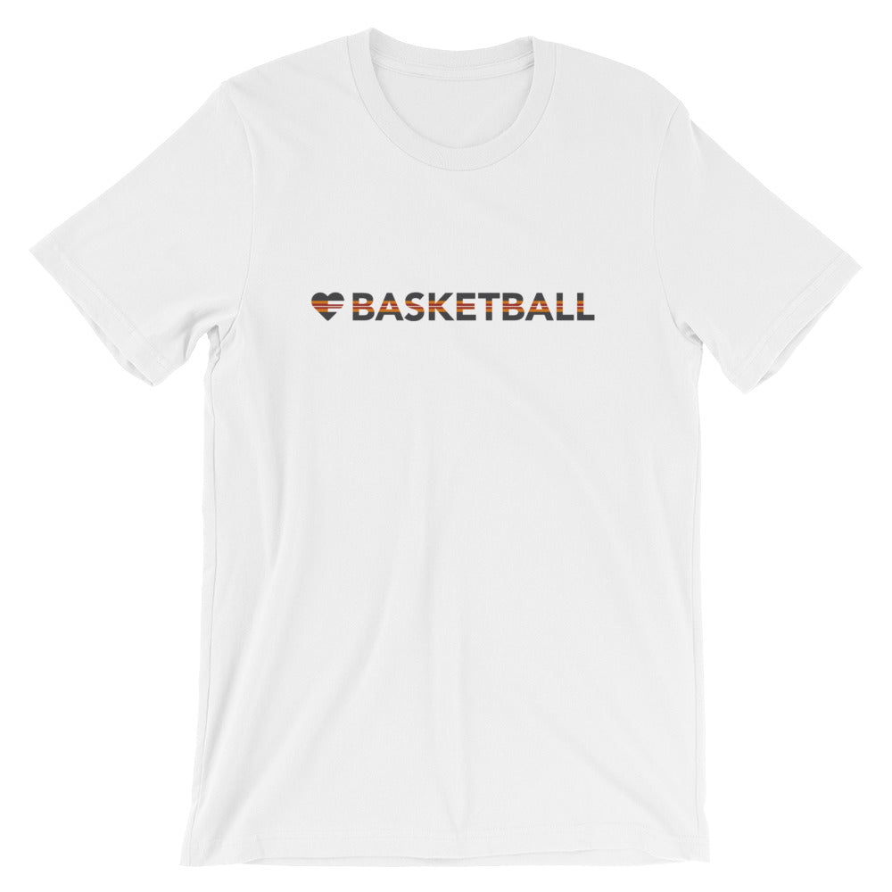 White Heart=Basketball Unisex Tee