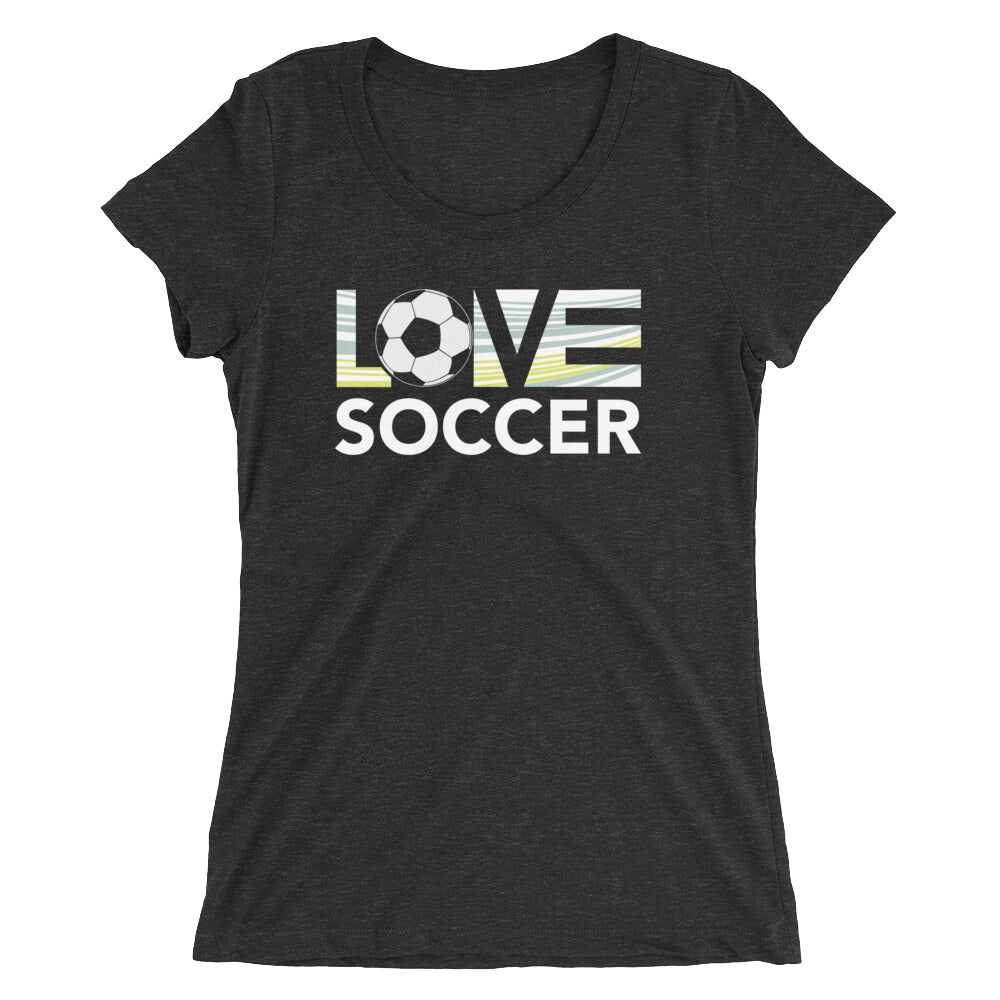 Black LOV=Soccer Ultra Slim Fit Triblend Tee