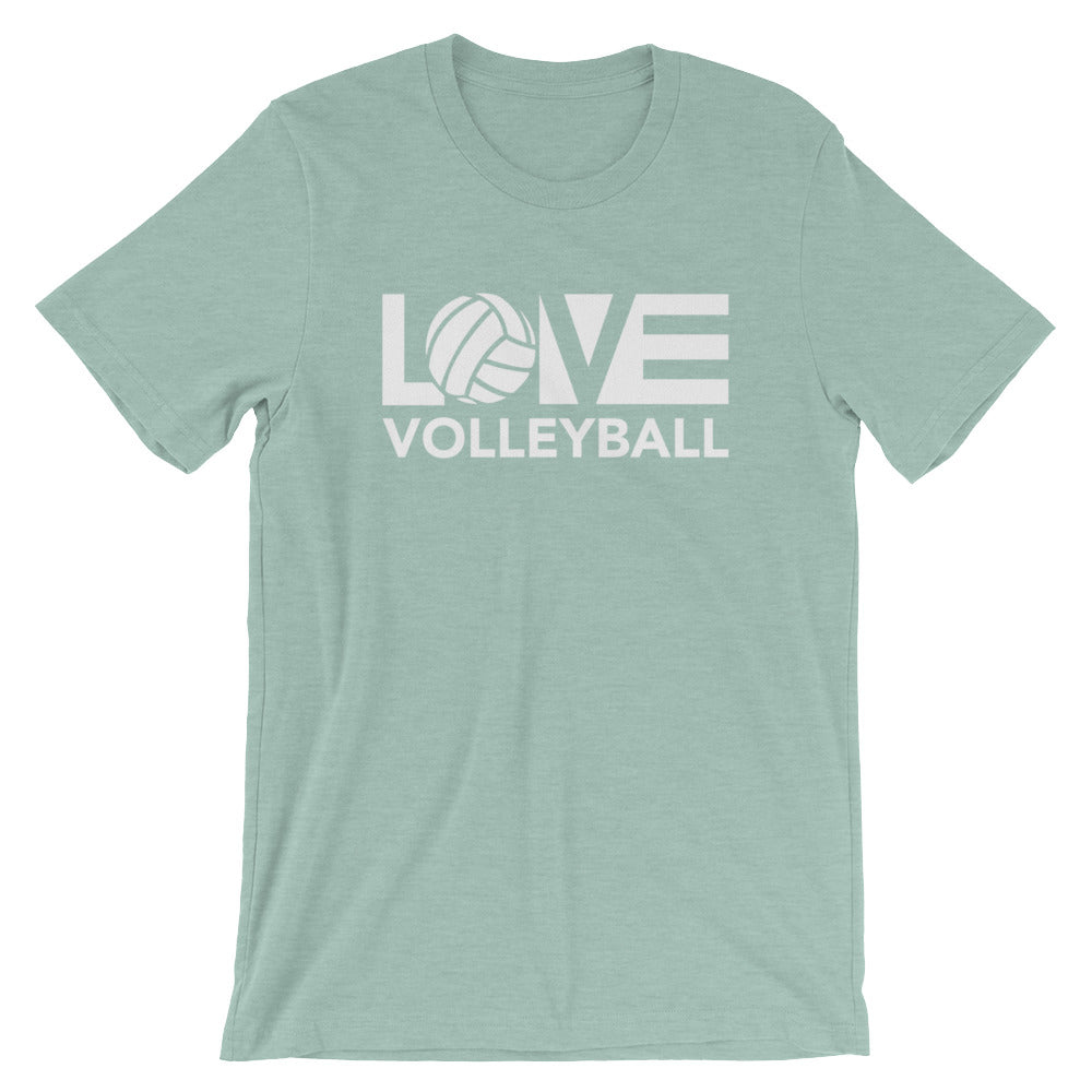 Prism Dusty Blue LOV=Volleyball Unisex Tee