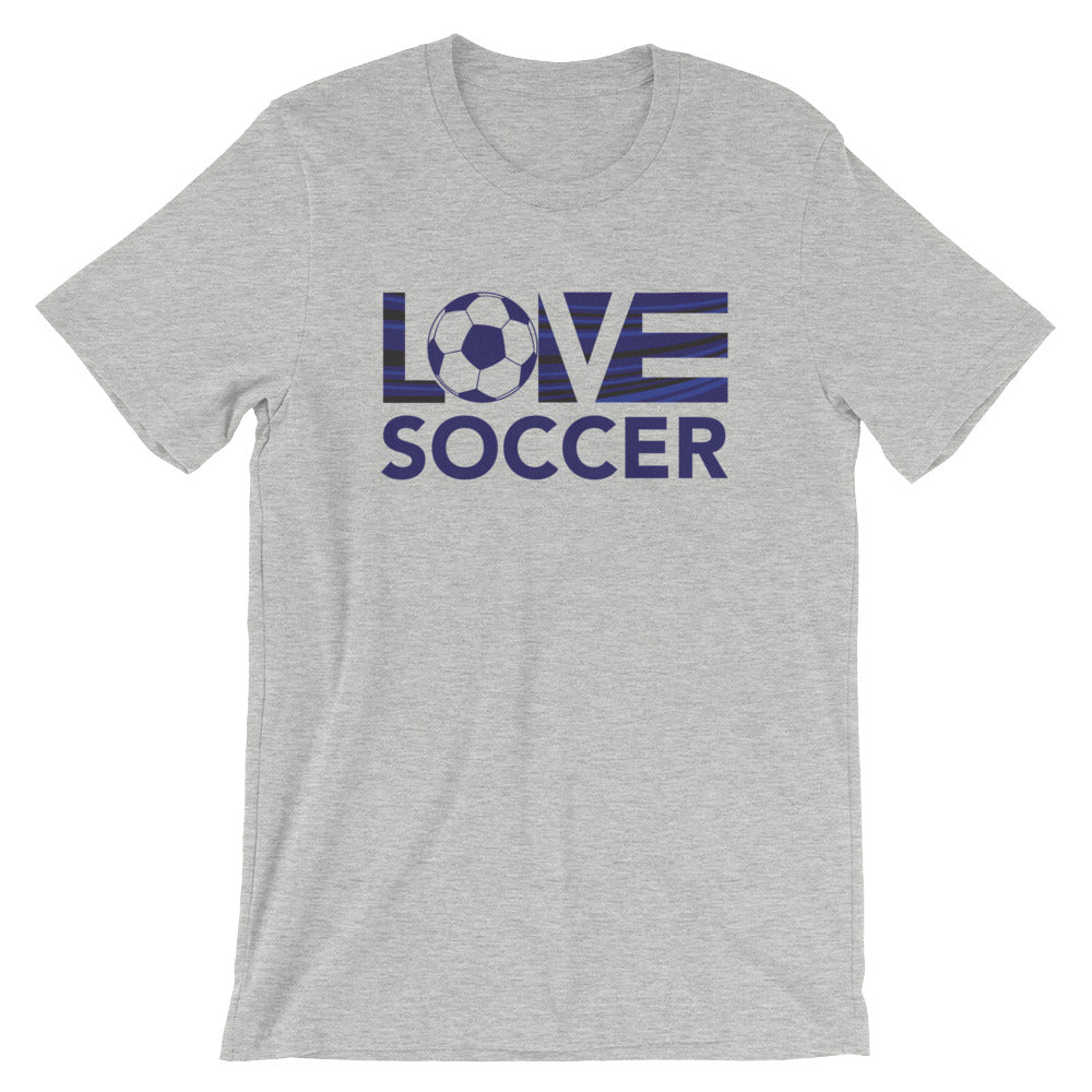Athletic grey LOV=Soccer Unisex Tee