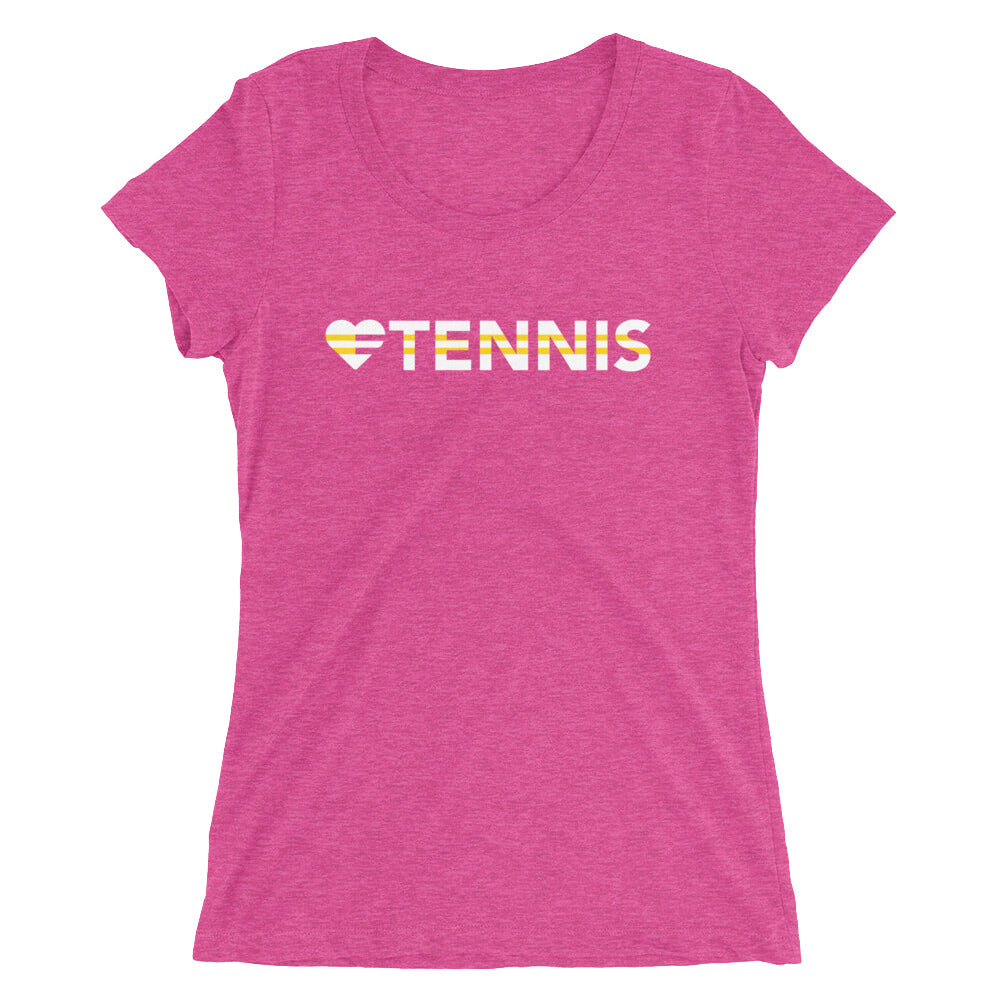 Berry Heart=Tennis Ultra Slim Fit Triblend Tee
