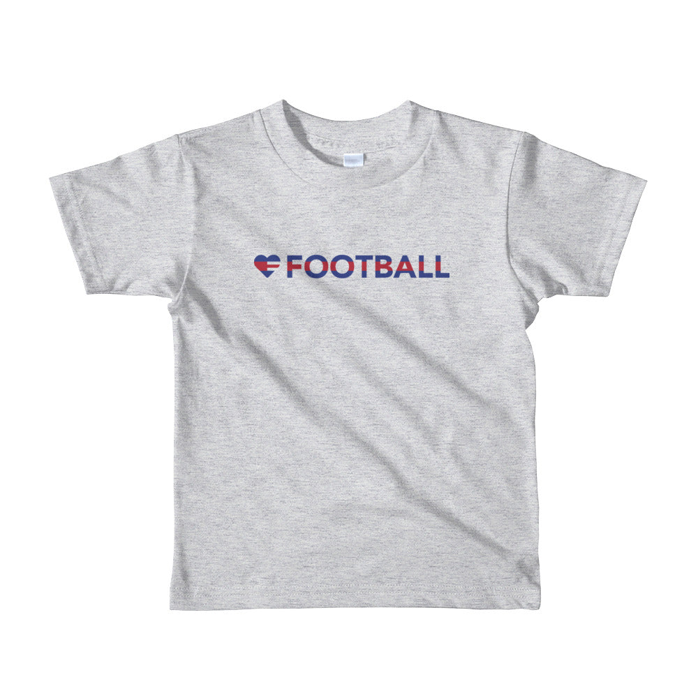 Heather Grey Heart=Football Kids Tee