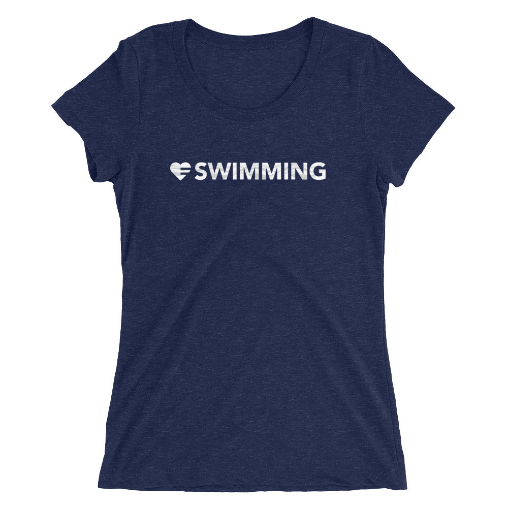 Navy Heart=Swimming Ultra Slim Fit Triblend Tee