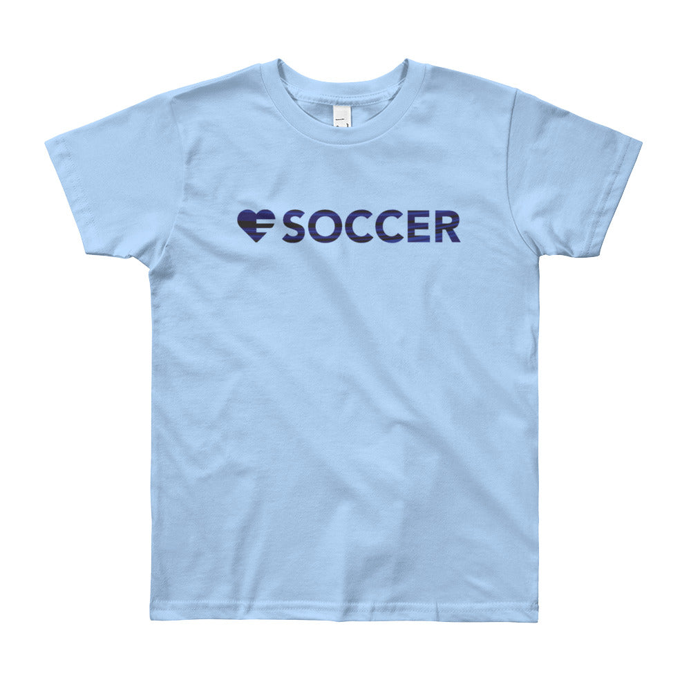Baby blue Heart=Soccer Youth Tee