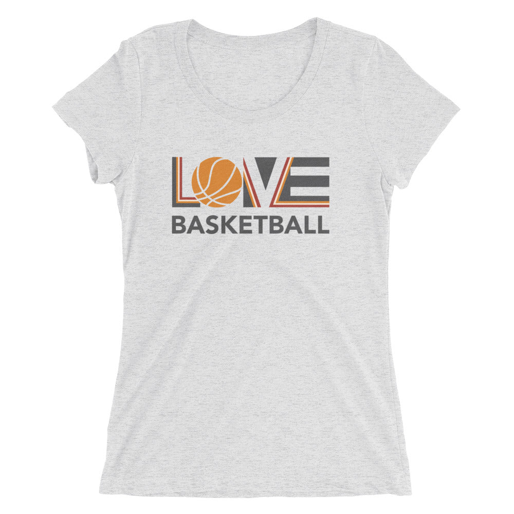 White LOV=Basketball Ultra Slim Fit Triblend Tee