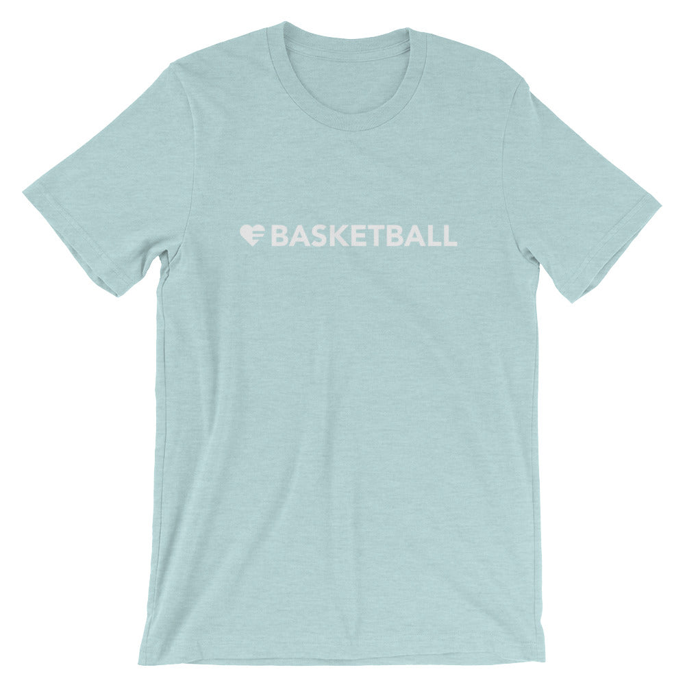 Heather Prism Ice Blue Heart=Basketball Unisex Tee