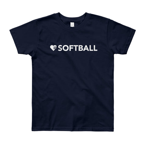 Heart=Softball Youth Tee (8yrs-12yrs)