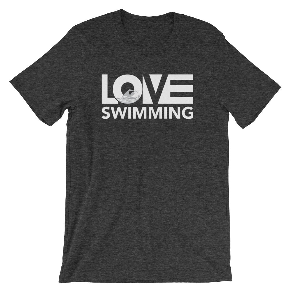 Dark grey LOV=Swimming Unisex Tee