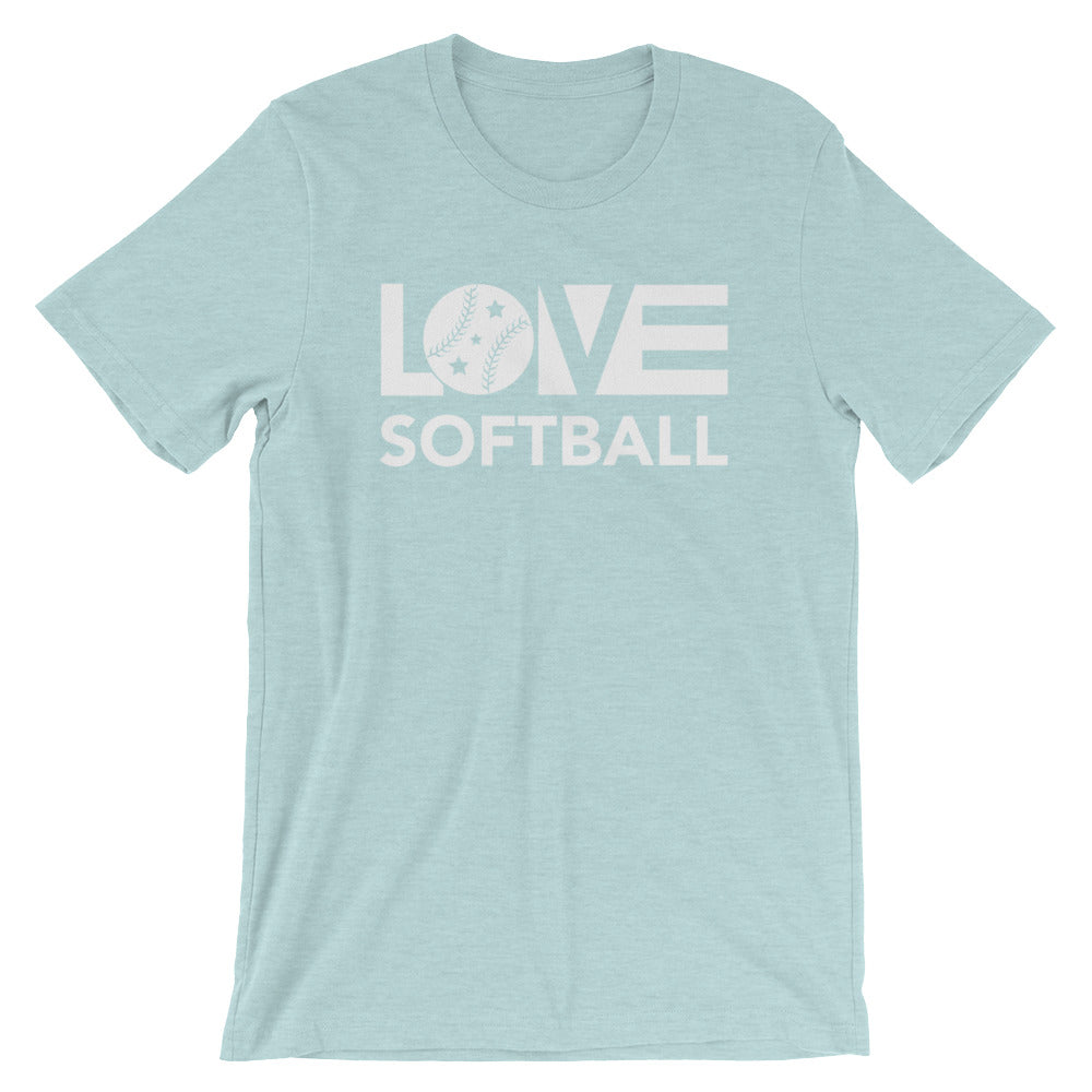 Ice blue LOV=Softball Unisex Tee