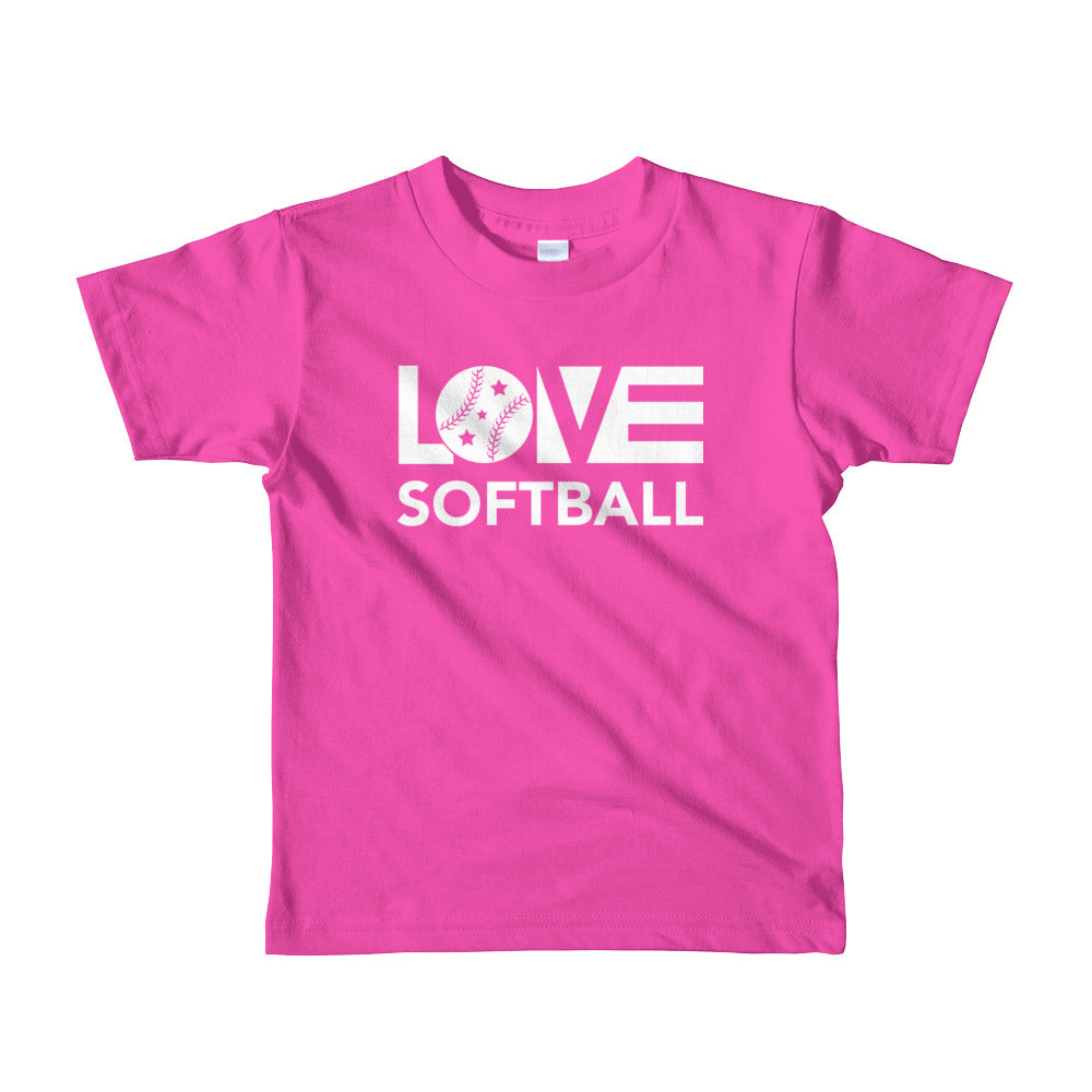 Fuchsia LOV=Softball Kid Tee