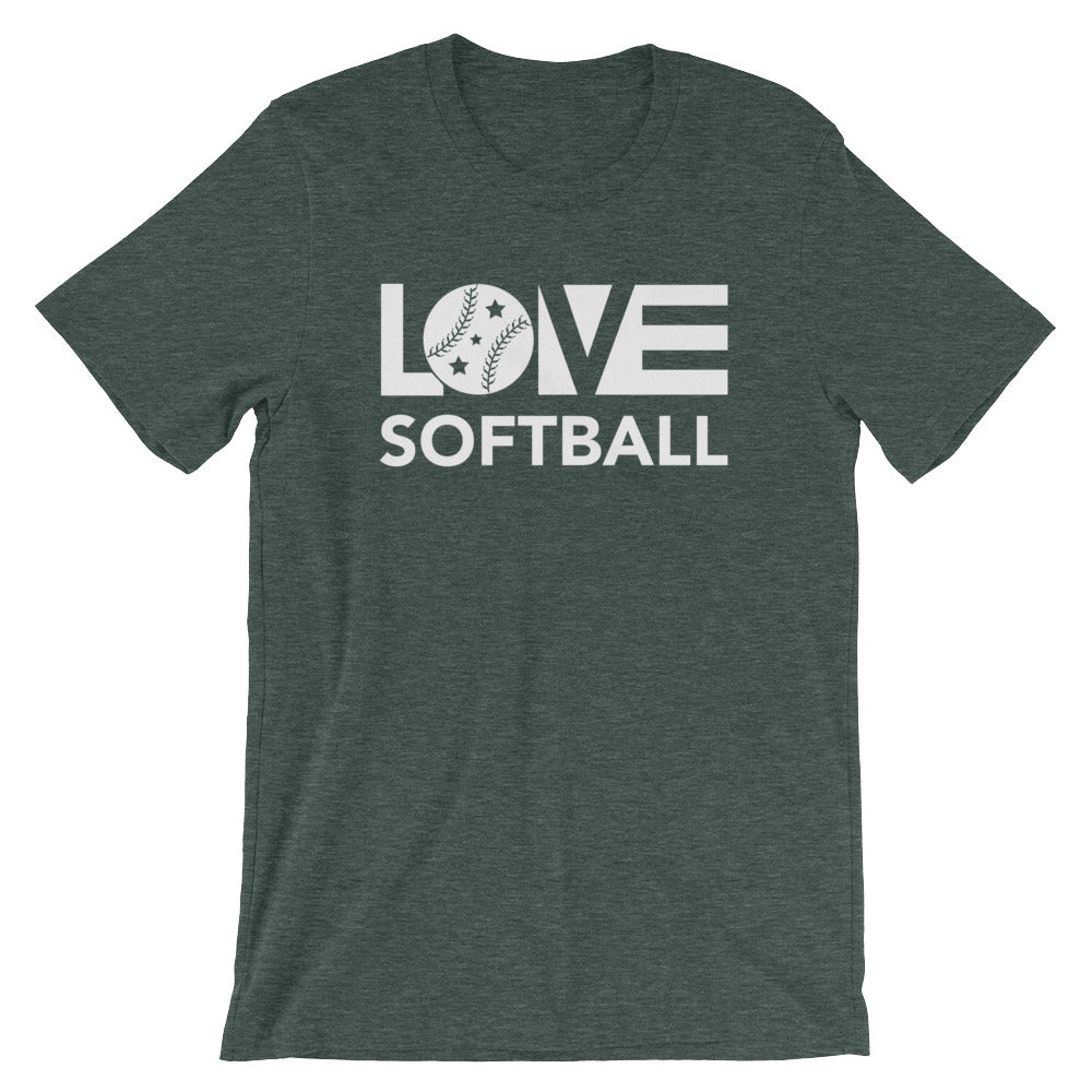 Heather forest LOV=Softball Unisex Tee