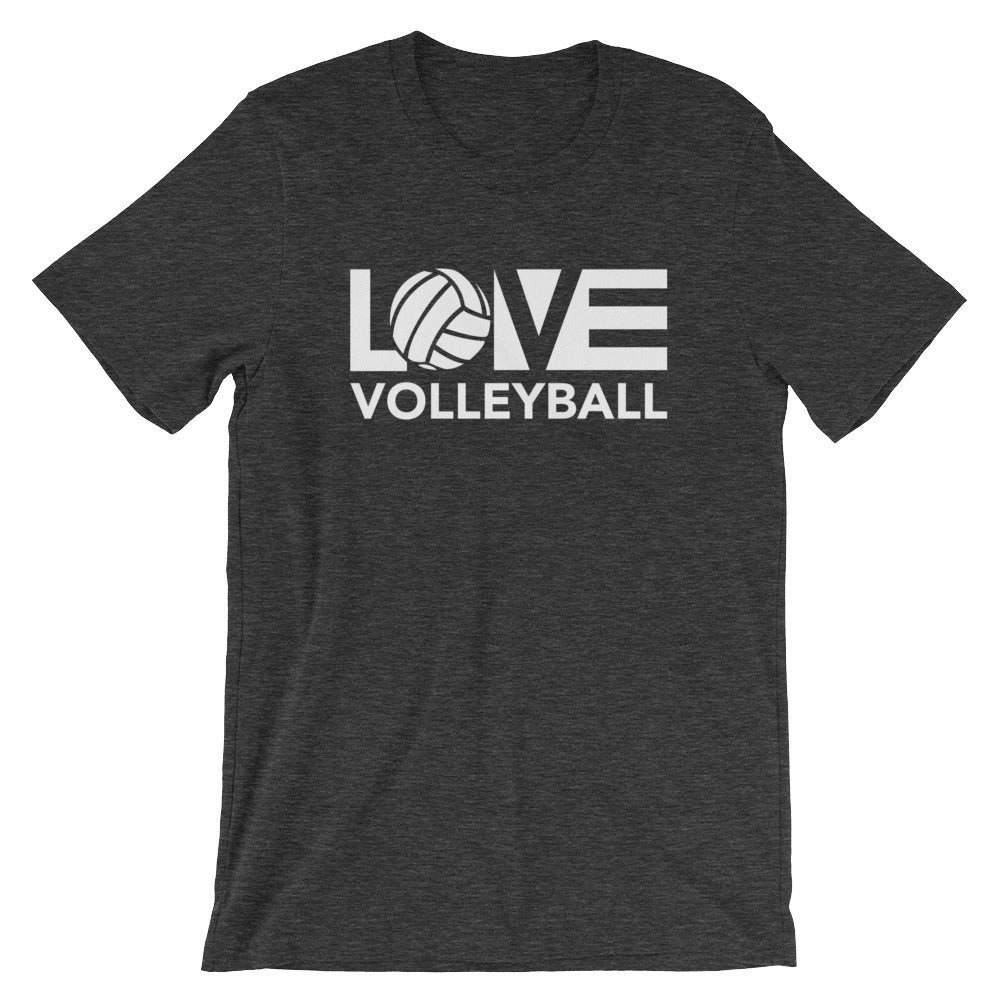 Dark Grey LOV=Volleyball Unisex Tee
