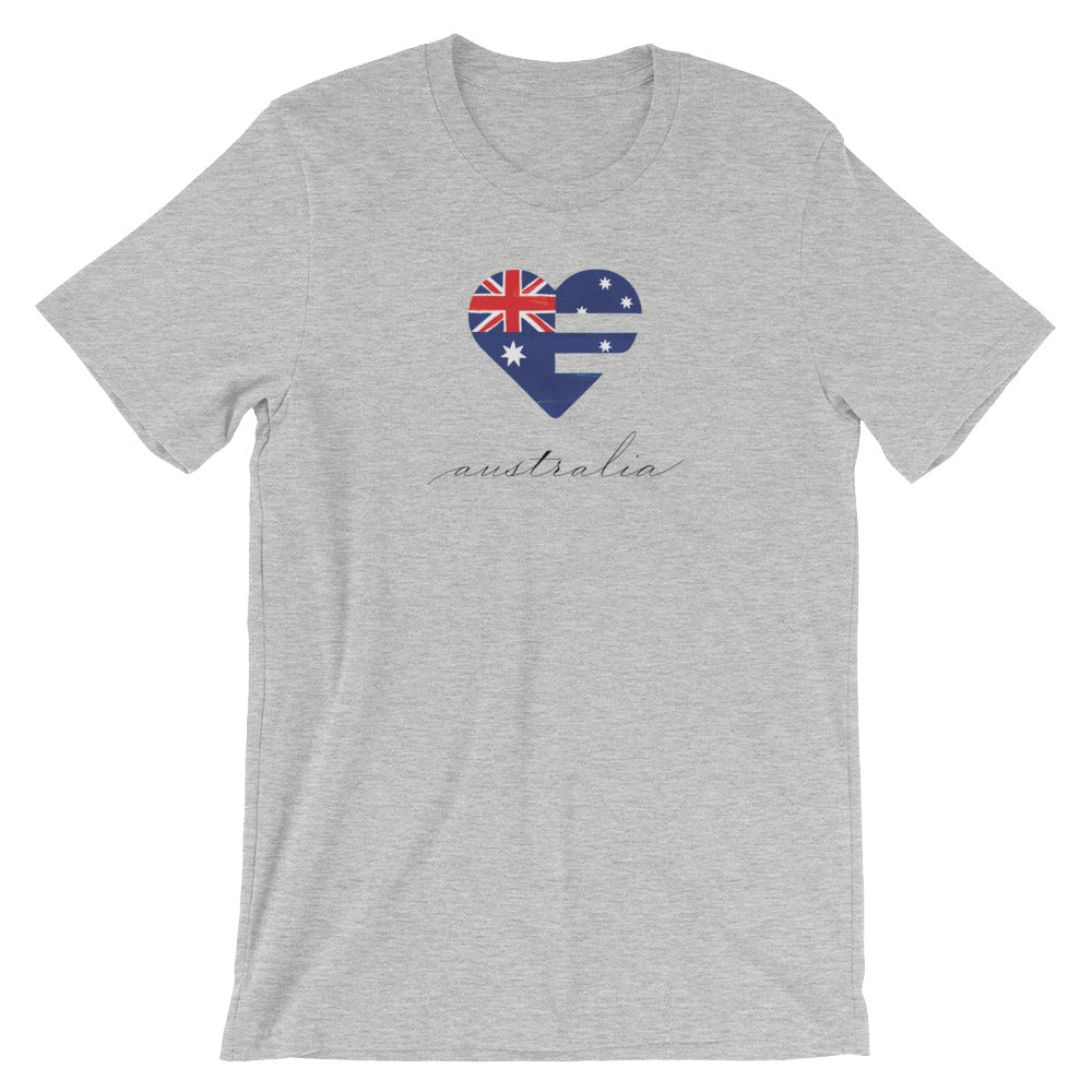 Athletic Heather Australia Heart Unisex Tee