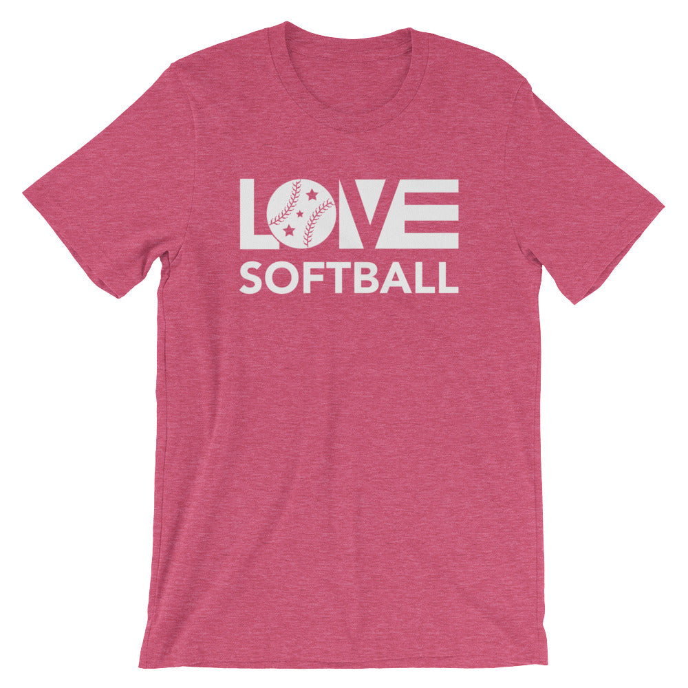 Raspberry LOV=Softball Unisex Tee